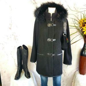 Nordstrom Kensie faux fur hood wool blend coat